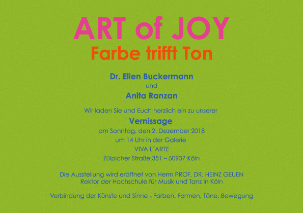 ART OF JOY - FARBE trifft TON | Ausstellung im Viva L´arte
