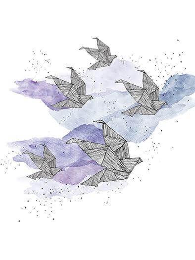 Anika Merten - Graphik, Illustration, Zeichnungen- Origami (limitierter Print)
