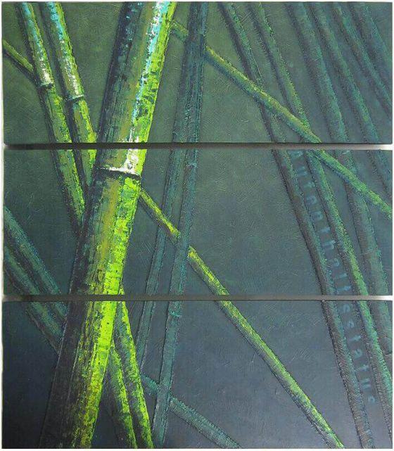 Michaele Helker - Collagen, Malerei- Bambuswald_1.033