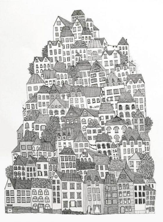 Anika Merten - Illustration, Zeichnungen- Haus um Haus II