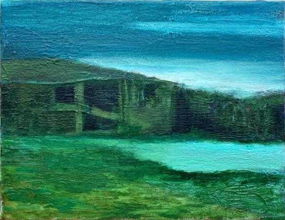 Ursula Krenzler - Hütte am See - Malerei