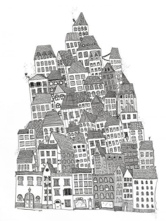 Anika Merten - Illustration, Zeichnungen- Haus um Haus